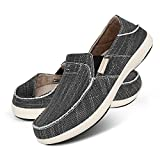 Slip On Shoes for Men, Plantar Fasciitis Canvas Loafer Shoes with Arch Support, Orthopedic Casual Non Slip Shoes with Rubber Sole (11, Black)