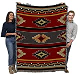 Kaibab - Southwest Native American Inspired Tribal Camp - Cotton Woven Blanket Throw - Made in The USA (72x54)