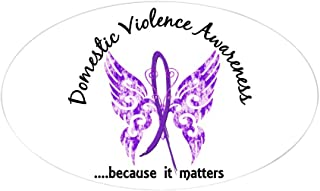 CafePress Domestic Violence Butterfly 6.1 Oval Bumper Sticker, Euro Oval Car Decal