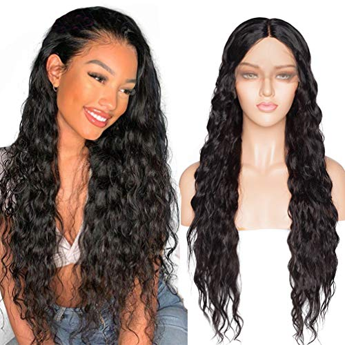 70cm Schwarze Welle Glueless Lace Front Perücken Lange Lose Gewellte Lockige Hitzebeständige Synthetische Haar Volle Perücke Mit Natürlichem Haaransatz