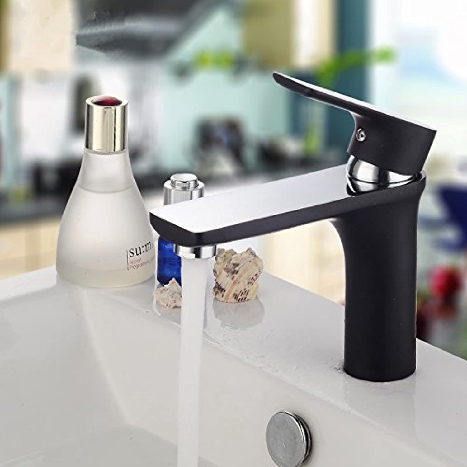 Deck Assembled in Rigid Brass wash Basin Mixer with Single Hand wash Basin tap Antique Black Bathroom Fittings