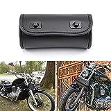 Motorcycle Handlebar Bag, Mini Saddle Fork Storage Tool Bag for Motorbike Bike (Black B)