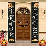 IBLUELOVER - Banderín de Halloween de Trick oro Treat para puerta de entrada, cartel colgante de decoración de Halloween, fiesta accesorios de decoración para casas de oficina, etc.