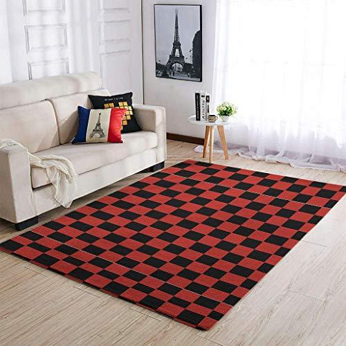 Knowikonwn Alfombra de ajedrez de lujo para decorar la sala de estar, divertida en blanco y negro para la mesita de noche del dormitorio, color blanco, 6 x 80 cm