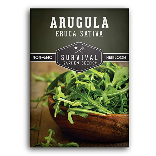 Survival Garden Seeds - Arugula Seed for Planting - Packet with Instructions to Plant and Grow Your Home Vegetable Garden - Non-GMO Heirloom Variety