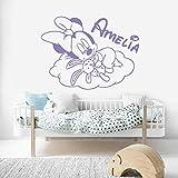 Pegatina de pared para dormir decoración de habitación de niñas calcomanías de Arte de pared personalizadas con nombre del bebé extraíble con papel tapiz de Luna