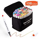108 Pack Art Markers, 107 Coloring Markers and 1 Blender, Alcohol Based Dual