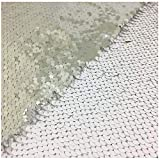 Elegant Reversible Sequin Fabric-White Silver Shimmer Mermaid Sequin Fabric Emboridery Flip Up Sequin Fabric by The Half Yard Clothing Wedding/Evening Dress DIY