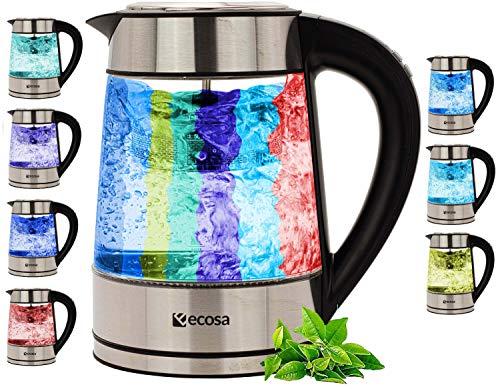 Glas Wasserkocher mit Teesieb | Temperaturwahl 40°C-100°C | 2.200 W | Edelstahl Wasserkocher mit Temperatureinstellung | 100% BPA FREI | Warmhaltefunktion | LED Beleuchtung im Farbwechsel