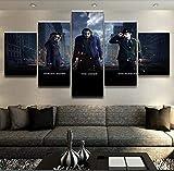 CGHBDOP HD Impression Cadre D' Cadre Affiche sur Toile Tableaux 5 Parties Moderne Décoration Maison Chambre Photo Bat Harley Quinn Joke Riddler