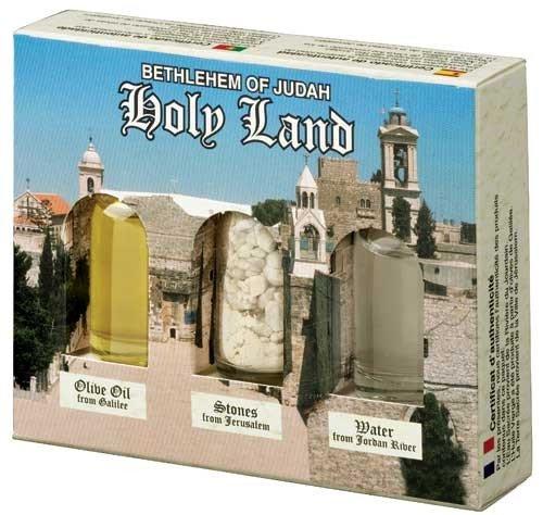 Belén–tierra santa Collection–Aceite de oliva de Galilea, piedras de Jerusalén, agua de Jordania del Río