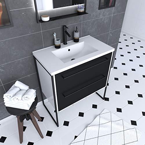 Aurlane PACM021 - Mueble de baño, color negro y blanco