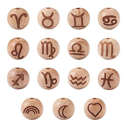 Beadthoven - 30 cuentas redondas de madera natural de 16 mm con patrón de constelación con agujero grande, bola de rondelle de madera para hacer joyas, agujero de 4 mm