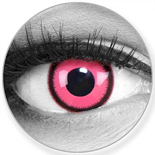 Funnylens Farbige rosa pink Kontaktlinsen Rose Lunatic - weich ohne Stärke 2er Pack + gratis Behälter – 12 Monatslinsen - perfekt zu Halloween Karneval Fasching oder Fasnacht