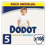 Dodot Pañales Bebé Sensitive Talla 5 (11-16 kg), 168 Pañales, Óptima Protección de la Piel de Dodot, Pack Mensual