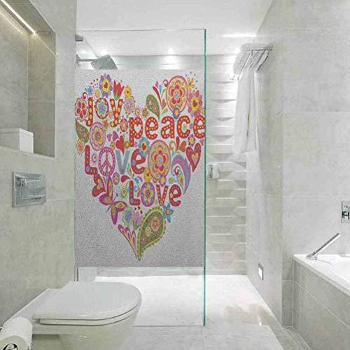 Dekorative Glasfolie, Groovy Print mit buntem Hippie-Stil, Blumenherz, Frühling Happi, Sichtschutz Glasfolie für Zuhause und Büro, 60 x 120 cm