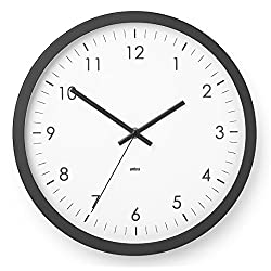 Umbra Wall Clock - 12 Round Plastic Frame - Battery Operated - Decorative Wall Clock Perfect for Dorm, Kitchen, Nursery, Office, School, Hospital - with Silent Second-Hand