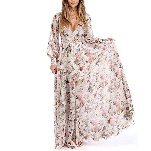 HODOD Summer Fashion Women's Beige V-Neck Long Sleeve Chiffon Floral Long Maxi Evening Party Dress L
