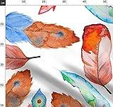 Wasserfarben, Feder, Abstrakt, Muster, Boho, Gelb Stoffe -