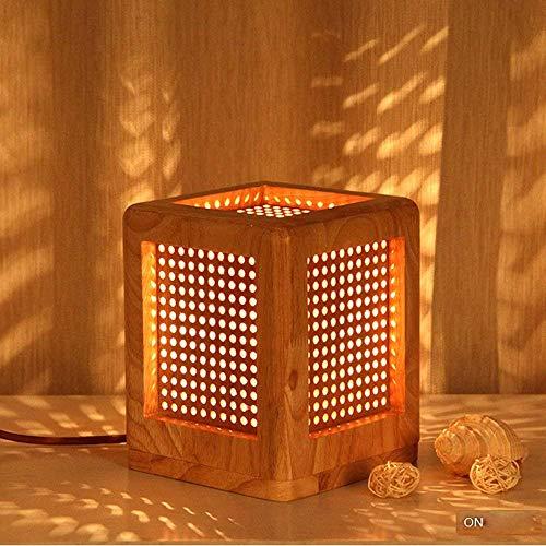 EYLM Schreibtischlampe Nachtlicht Schlafzimmer Tischlampe Tischleuchte aus Holz E27 fassung Schreibtischleuchte tageslicht für Schlafzimmer Studentenwohnheim Couchitisch Kommode Bücherregal deko