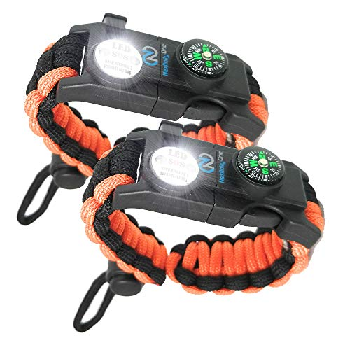 Nexfinity One Survival Paracord Bracelet - Tactical Emergency Gear Kit with SOS LED Light, Knife, 550 Grade, Adjustable, Multitools, Fire Starter, Compass, and Whistle - Set of 2 (Orange)