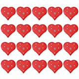 Amosfun 20pcs Valentine's Day Red Heart Brooch Pins LED Flashing Brooch Pins Wedding Birthday Party Favors