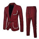 Logobeing Chaqueta de Trajes para Hombre - Slim Suit - 2Piezas Chaqueta y Pantalón Negocios Corbata Americanas HombreTrajes Hombre Vestir Completos Dos Botones Vestido de Fiesta de Boda (XXL, Rojo)