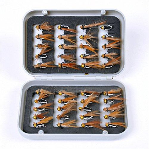 JasCherry 40 Stück Angel-Fliegen Kunstköder Fliegenköder Fliegen Fischen Köder mit wasserdichte Box, Perfekt zum Angeln Barsch Forelle Dorsch Angelzubehör