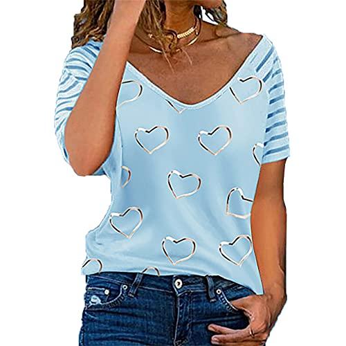 Blusas de Mujer de Primavera y Verano con Estampado de Amor Fresco y Dulce Camiseta de Manga Corta con Cuello en V y Manga Corta Suelta