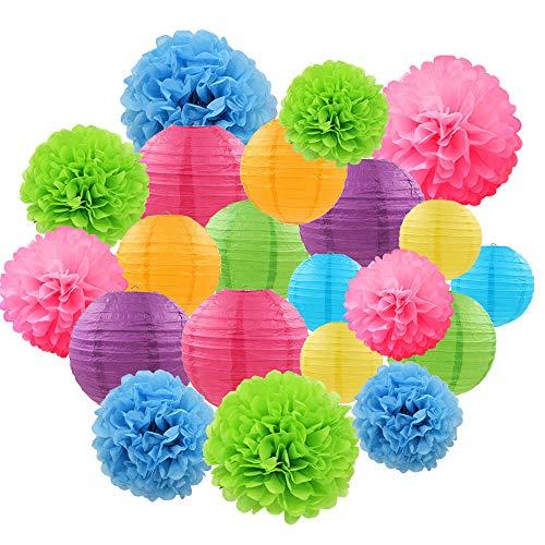 Libershine Farolillos de Papel, Pompones Decorativos, Ideal La Fiesta, El Cumpleaños,La Navidad y La Boda Decoración, 21 Piezas