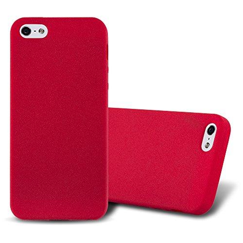 Cadorabo Coque pour Apple iPhone 5 / iPhone 5S / iPhone SE en Frost Rouge - Housse Protection Souple en Silicone TPU avec Anti-Choc et Anti-Rayures - Ultra Slim Fin Gel Case Cover Bumper