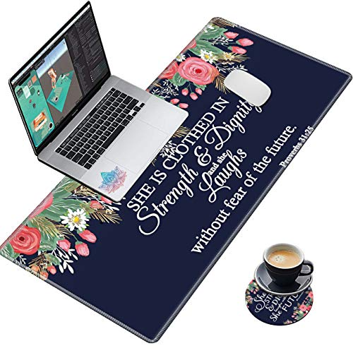 Desk Pad Navy Blue Flower Bible Proverbs 31:25 Mouse pad with Cute Coasters and Pink Mandala Stickers Non-Slip Rubber Large Gaming Mouse Mat, Multifunctional Office Desk Mat