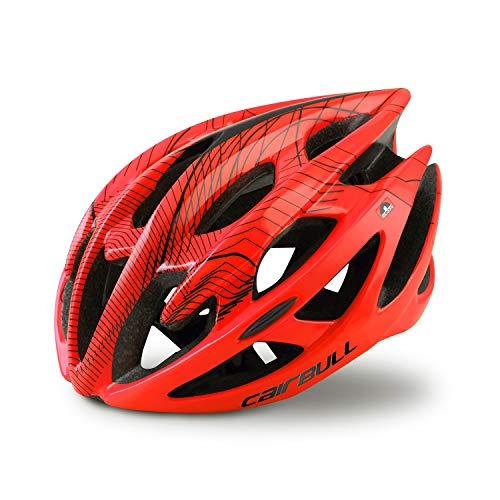 HANFEI Casco De Bicicleta Transpirable De Alta Resistencia, Casco De Conducción para Adultos Ultraligero, Casco, Unisex, Rosa, Negro, Blanco, Rojo, Azul, Amarillo (Rojo,S/M (52-58CM))