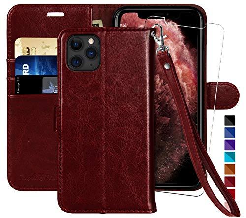 MONASAY Custodia a portafoglio per iPhone 12 Pro/iPhone 12 5G, 6,1 pollici [Protezione schermo in vetro incluso] [blocco RFID] Flip Folio in pelle con porta carte di credito