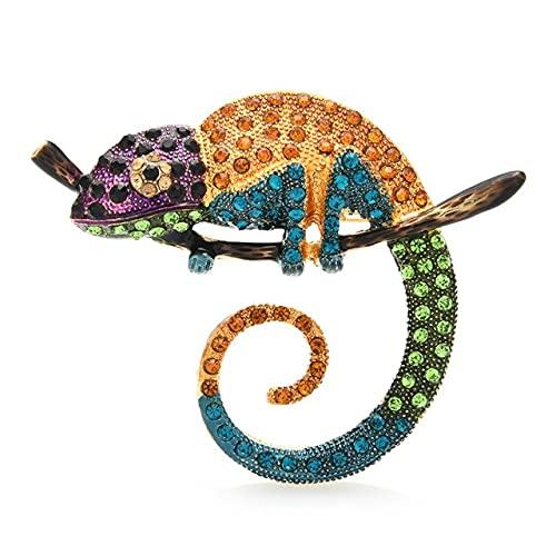 Broche de lagartija multicolor grande alfileres de moda animal broche joyería regalo 4 colores camaleón Pins-amarillo