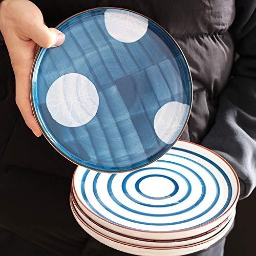 Platos Platos de cena Plato de sirviente de pasta de pasta placa de cena de carne de cerámica de microondas. Vajilla (Color : Thread)