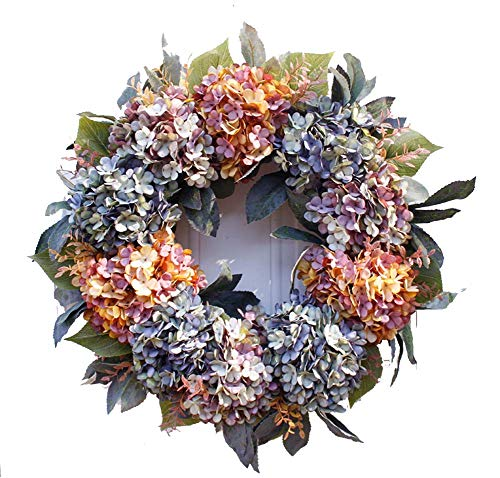 Yw-Flower kunstmatige hydrangea krans, handgemaakte herfstkrans, kleurrijke hydrangea voor voordeur, muur, open haard, raamdecoratie