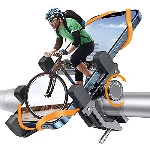 DesertWest Fahrrad Handyhalterung, Luftfahrt-Aluminiumlegierung Motorrad Scooter Universal MTB Rennrad Handy Halterung Fahrradlenker Schnellspanner Outdoor Lenker Halter für 4,0-7,2 Zoll Smartphone