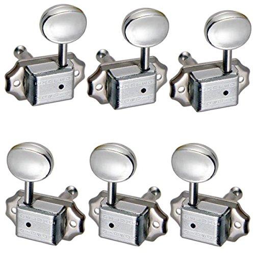 SM SunniMix 6er Stimmwirbel Tuner Mechaniken für Akkustische Gitarre - Silber, 3l 3r