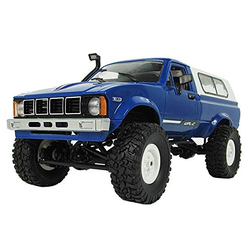 Kanzd WPL C24 Remote Control 1:16 4WD 2.4G Military Rock Buggy Crawler Off-Road RC Car (Blue)