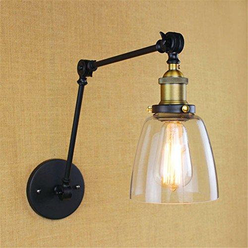 JJZHG wandlamp wandlamp Retro vintage nachtkastje berging slaapkamer lobby hotel oude decoratieve wandlamp, zwart omvat: wandlampen, wandlamp met leeslamp, wandlamp met stekker