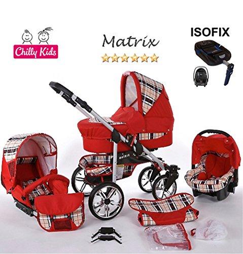 Chilly Kids Matrix 2 poussette combinée Set – hiver (chancelière, siège auto & ISOFIX, habillage pluie, moustiquaire, roues pivotantes) 48 rouge & carreaux
