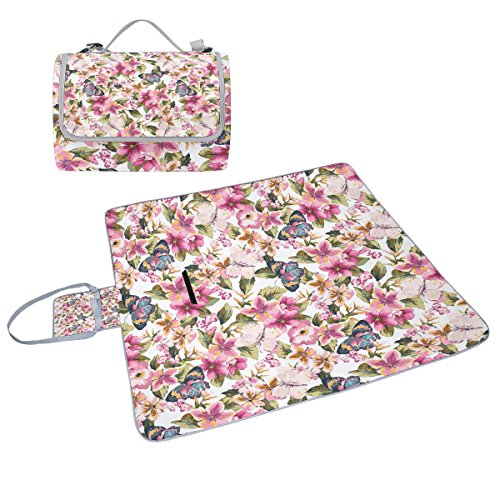 COOSUN Schmetterling Blumen Muster Box Picknick-Decke mit Matte Schimmel resistent und wasserdicht Camping-Matte für rving, Picknickdecke, Strand, Wandern, Reisen und Ausflüge