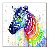 Acuarela cebra lienzo arte pintura decoración del hogar abstracto animal póster de pared e imprimir imágenes de animales en color para la habitación de los niños 30x30cm no frame