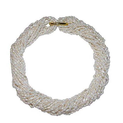 10 Stück Biwa natur gewachsene Süßwasser Perlen Ketten = 1 Collier je einzelne Kette ca. 90 cm rohweiß incl. 2 x Kettenverschluss (4600)