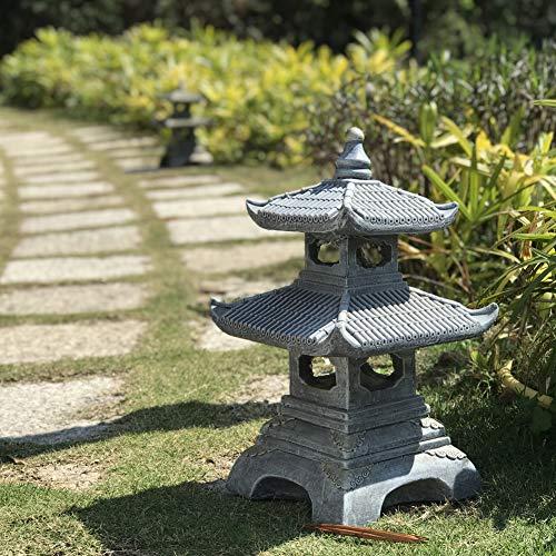 "CHTB Al Aire Libre Estilo Japonés Linterna Solar Lámpara De Jardín,20"" Altura Solar Pagoda Light Estatua del Jardín Jardín Lámpara De Piedra Antigua"