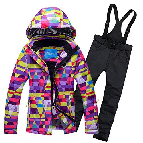 CAMP JACKET Damen Skijacke Snowboard Windproof Damen Jacke Wasserdicht Schneeanzug Set Bunte ski Kleidung Mantel-H 3XL