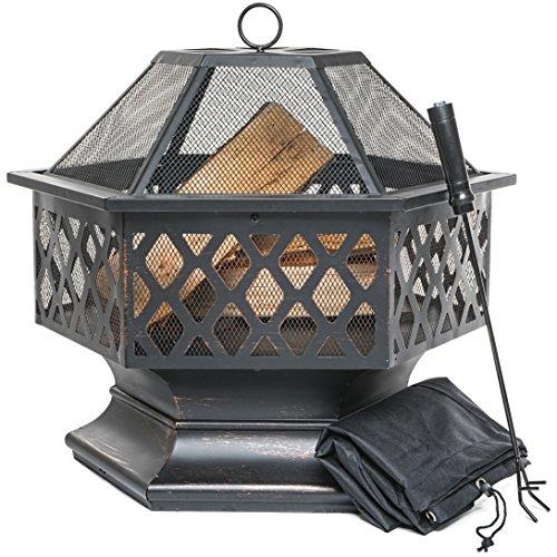 PRISP Brasero de Exterior, Hoguera Hexagonal para el jardín, Patio o la...