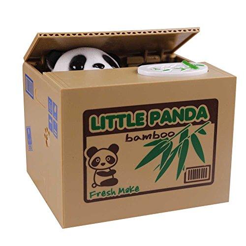 Amurleopard Elektronische Spardose Panda im Korb