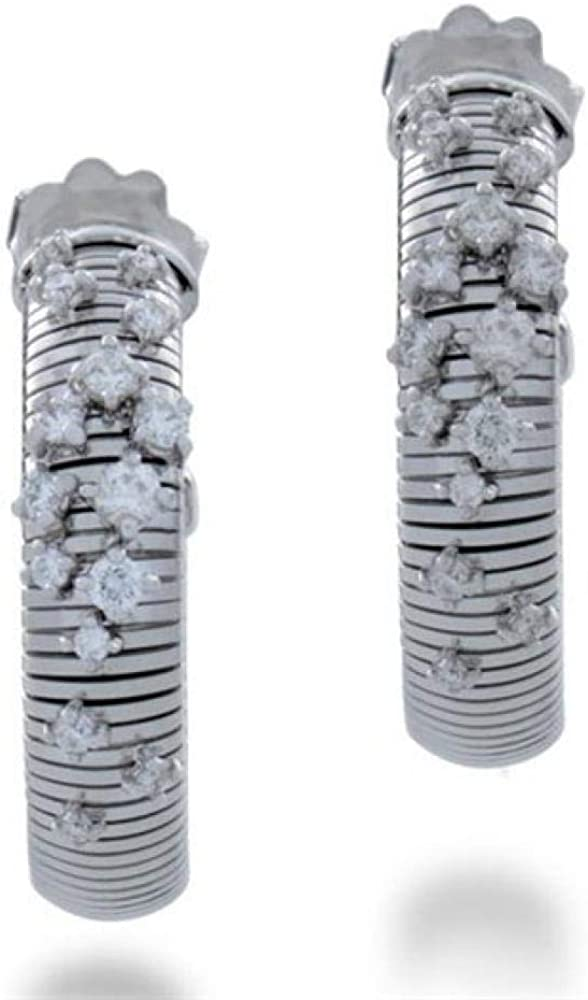 Chimento,orecchini in oro bianco 18k/750(11 gr)con incassati diamanti per kt 0,60 1O02085B15000